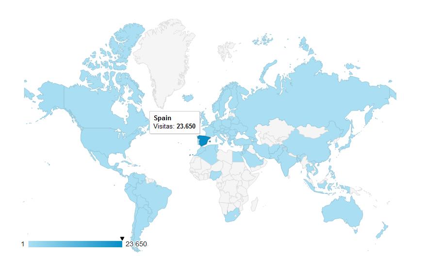 Mapa global de procedencias geográficas. El 90% proceden de España.