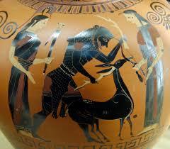 Vaso griego con Hécules y la Cierva Cerinnia